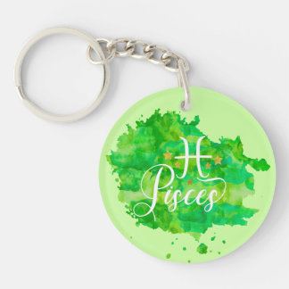 Zodiac Pisces Green Watercolor Gold Stars Key Ring