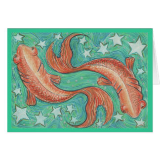 Zodiac Pisces greetings card