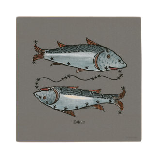 Zodiac: Pisces In Color Maple Wood Coaster