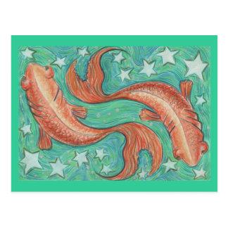 Zodiac Pisces postcard