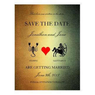 Zodiac Save the Date (Scorpio/Sagittarius) Mixed Postcards