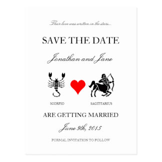 Zodiac Save the Date (Scorpio/Sagittarius) White Postcard