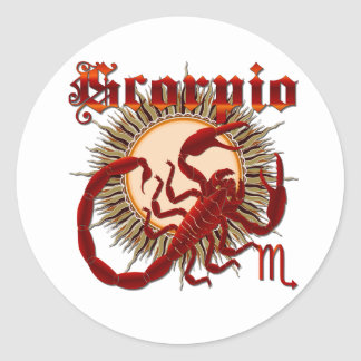 Zodiac Scorpio-Design-1 View Below Hints Classic Round Sticker