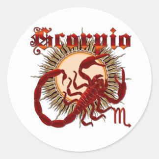 Zodiac Scorpio-Design-1 View Below Hints Round Sticker