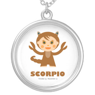 Zodiac Scorpio for Girls Round Pendant Necklace