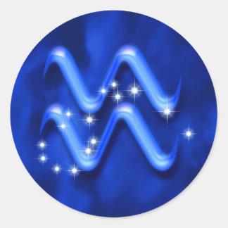 Zodiac sign Aquarius Classic Round Sticker