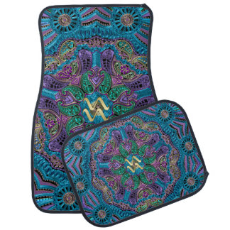 Zodiac Sign Aquarius Mandala Car Mat