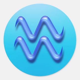 Zodiac sign Aquarius Round Stickers