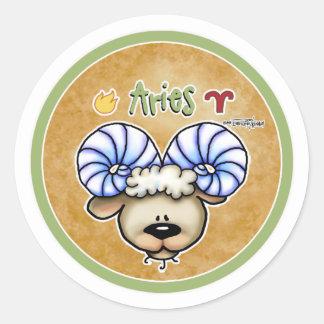 Zodiac Sign Aries - March & April Birthdays Round Sticker