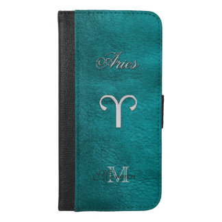 Zodiac Sign Aries Monogram Teal Wallet Case