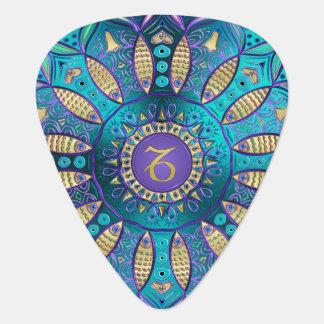 Zodiac Sign Capricorn Metallic Mandala Guitar Pick