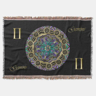 Zodiac Sign Gemini Mandala Monogram Throw Blanket