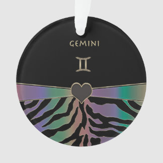 Zodiac Sign Gemini Rainbow Zebra Design Ornament