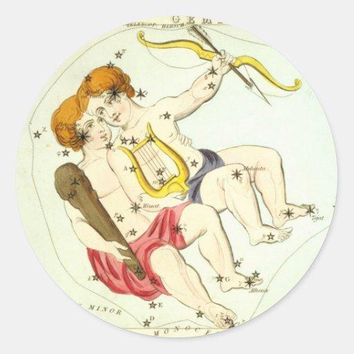 Zodiac Sign: Gemini Round Stickers