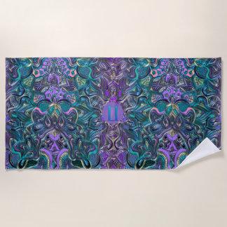 Zodiac Sign Gemini Turquoise Purple Mandala Beach Towel