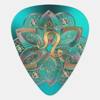 Zodiac Sign Leo Metallic Mandala Guitar Pick