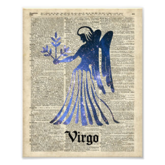 Zodiac Sign of Maiden Virgo Over An Old Book Page Photograph