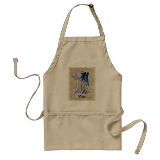 Zodiac Sign of Maiden Virgo Over An Old Book Page Standard Apron