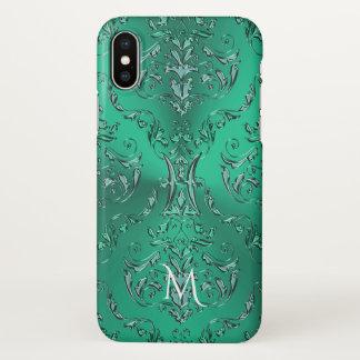 Zodiac Sign Pisces Metallic Green Damask iPhone X Case