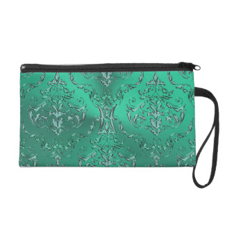 Zodiac Sign Pisces Metallic Green Damask Wristlet