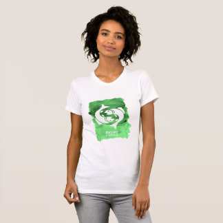 Zodiac Sign Pisces the Fish on Green Watercolor T-Shirt