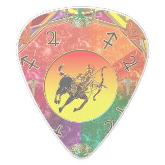 Zodiac Sign Sagittarius Mandala White Delrin Guitar Pick
