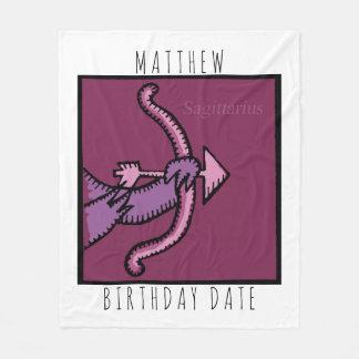 Zodiac Sign Sagittarius Name Birthday Blanket