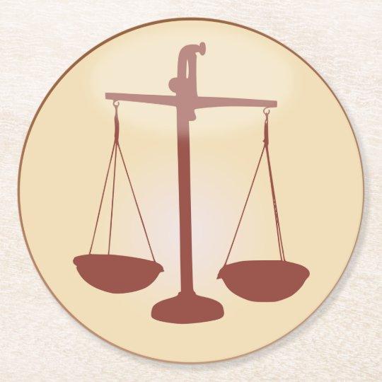 Zodiac Sign Scale Symbol for Libra Horoscope Round Paper Coaster