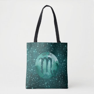 Zodiac Sign Scorpio on Starry Teal Sky Tote Bag