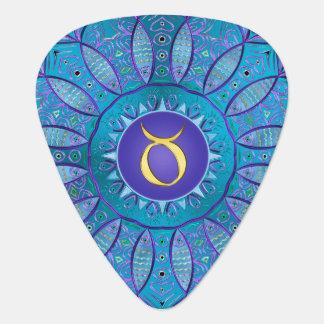 Zodiac Sign Taurus Cool Hued Mandala Guitar Pick