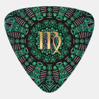Zodiac Sign Virgo Green Mandala Plectrum