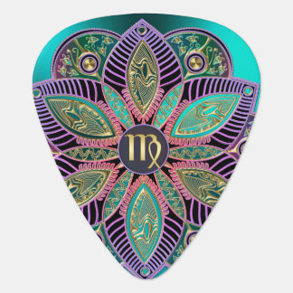 Zodiac Sign Virgo Lotus Mandala Guitar Pick