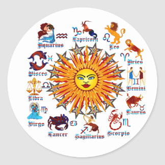 Zodiac-Signs-All-V-1 Classic Round Sticker