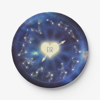 Zodiac Signs | Constellation Starry Night Wedding Paper Plate