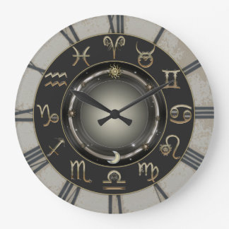 Zodiac Signs Large Clock