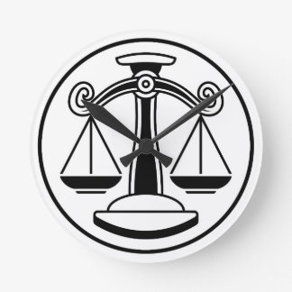 Zodiac Signs Libra Scales Round Clock