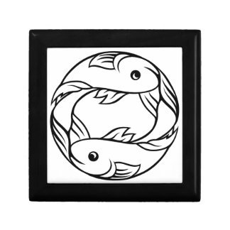 Zodiac Signs Pisces Fish Small Square Gift Box