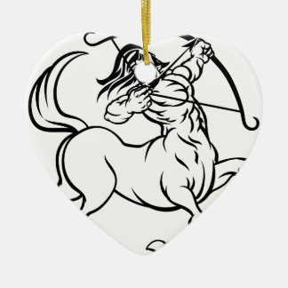 Zodiac Signs Sagittarius Centaur Ceramic Heart Decoration