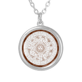 Zodiac signs silver plated necklace