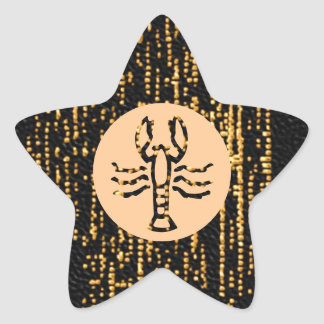 Zodiac Symbols on Gold Sparkle Night Sky Star Sticker