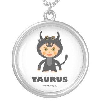 Zodiac Taurus for Girls Round Pendant Necklace