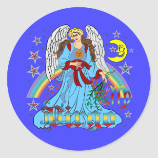 Zodiac-Virgo-V-1R Classic Round Sticker