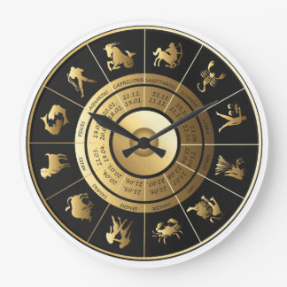 Zodiac Wall Clock Black & Gold