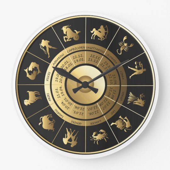 Zodiac Wall Clock Black Amp Gold Zazzle Co Uk