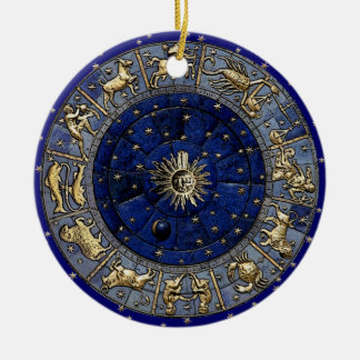 Zodiac Wheel Round Ceramic Decoration