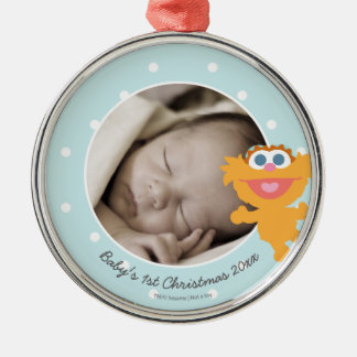 Zoe | Baby's First Christmas - Add Your Name Silver-Colored Round Decoration