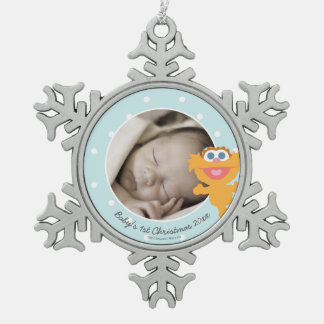 Zoe | Baby's First Christmas - Add Your Name Snowflake Pewter Christmas Ornament