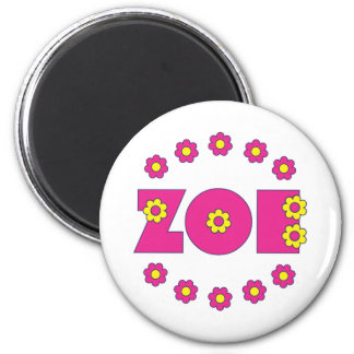 Zoe Flores Pink 6 Cm Round Magnet