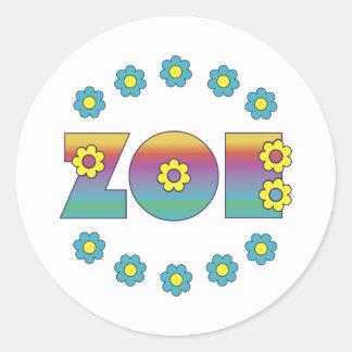 Zoe Flores Rainbow Round Sticker