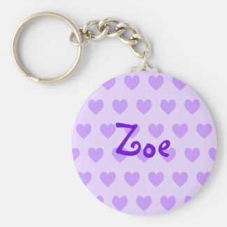 Zoe in Purple Basic Round Button Key Ring